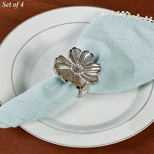 Flower Napkin Rings Antique Silver Set of Four