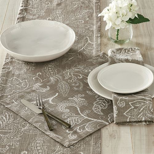 Stitches Table Runner Taupe 14 x 72