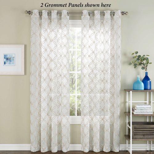 Corson Semi Sheer Grommet Curtain Panel Off White 53 x 84