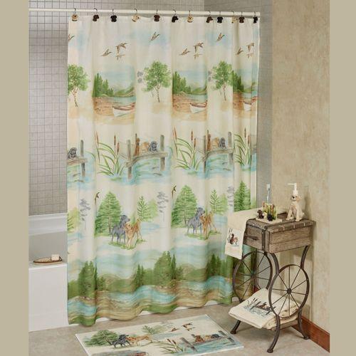 Woodland Dogs Shower Curtain Light Cream 70 X 72