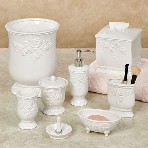 Ellie White Rose Porcelain Bath Accessories by Jessica Simpson