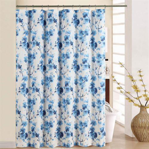 Tree Blossom Floral Shower Curtain Blue 70 X 72