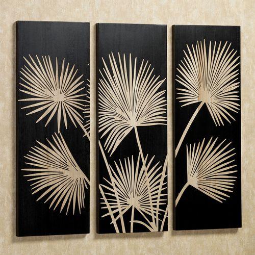 Graceful Palms Triptych Black Set of Three