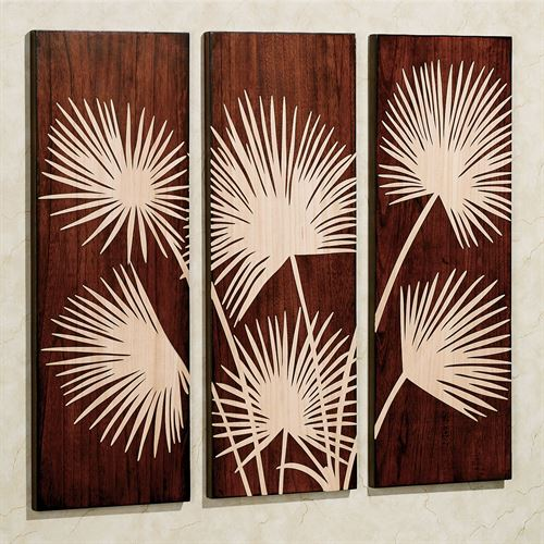 Graceful Palms Triptych Classic Cherry Set of Three