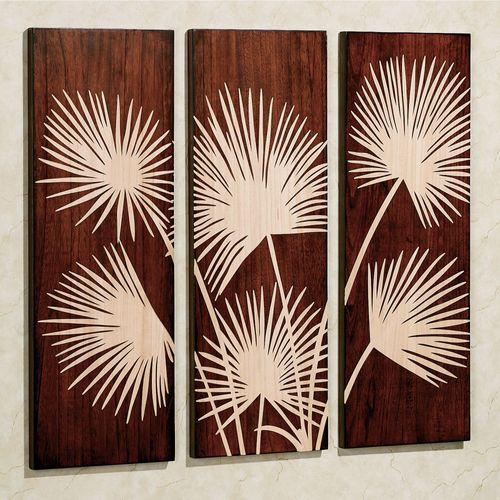 Graceful Palms Triptych Classic Cherry Set of Three