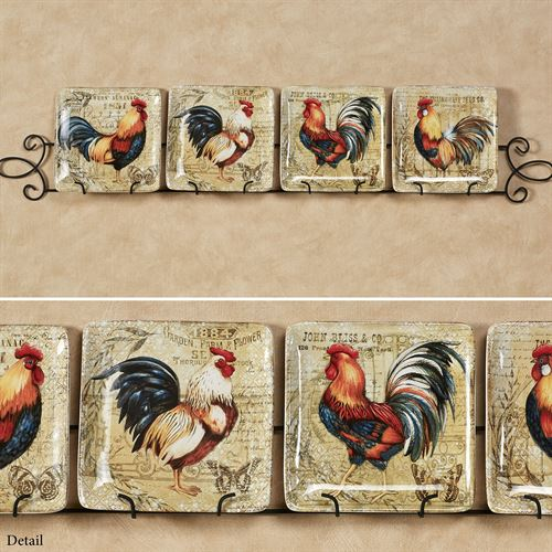 Gilded Rooster Dessert Plates Multi Earth Set of Four