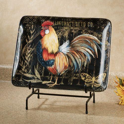 Gilded Rooster Rectangle Serving Platter Multi Earth