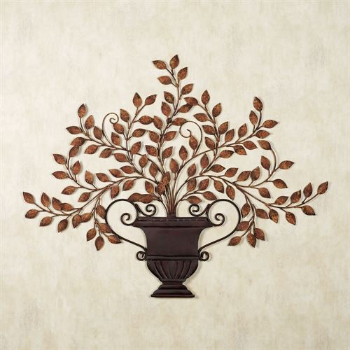 Tuscan Urn Metal Wall Sculpture Antique Brown