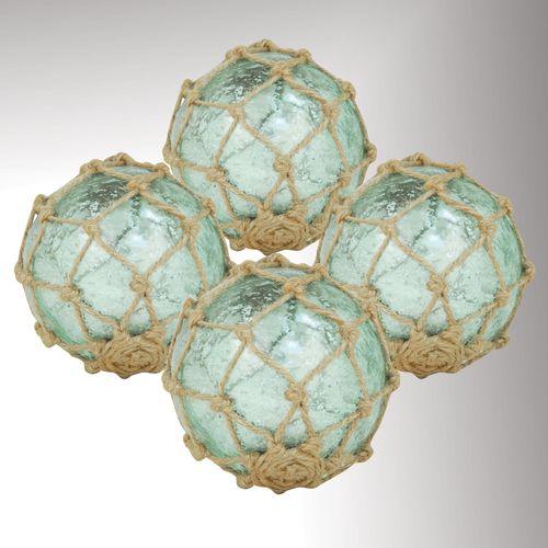 Seaside Glass Orbs Aqua Set of Four