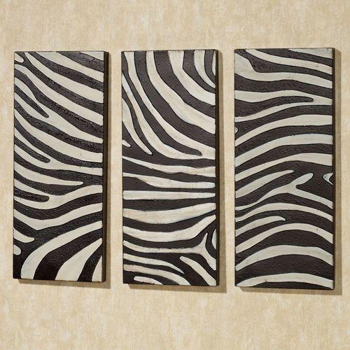 Zebra Wall Panel Set Black Set of Three