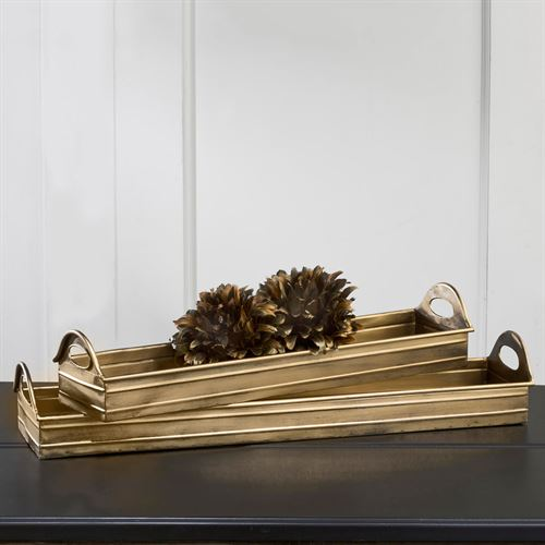 Aaralyn Decorative Trays Antique Gold Set of Two