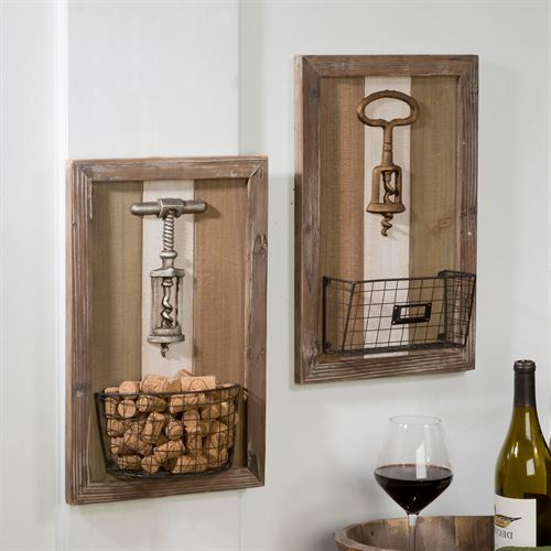 Corkscrew Wall Baskets Natural Set of Two