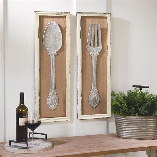 Spoon and Fork Framed Wall Art Gray Set of Two