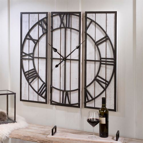 Dallyce Wall Clock Panels Whitewash Set of Three