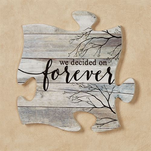 We Decided Quote Puzzle Piece Weathered White