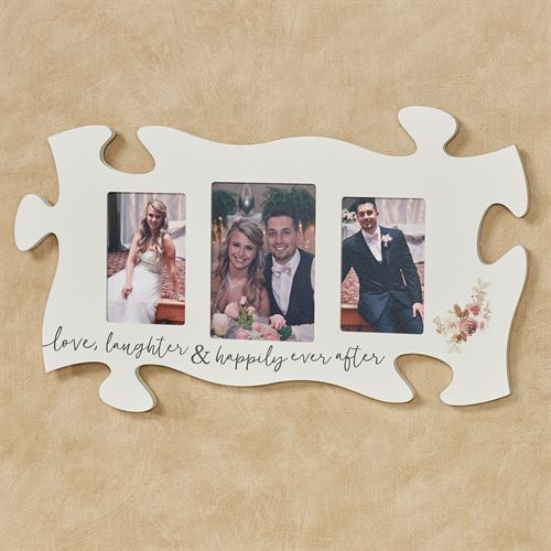 Love Laughter Photo Frame Puzzle Piece White