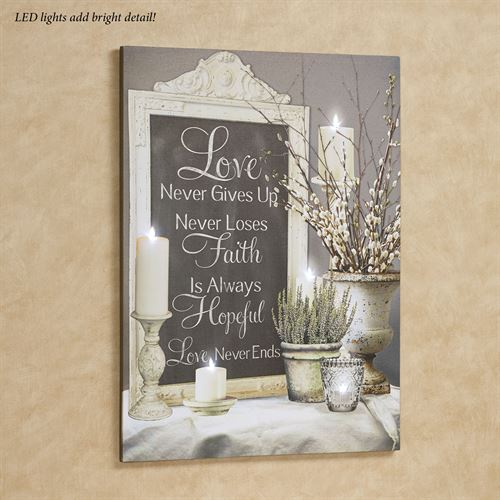 Love Never Ends Lighted Canvas Wall Art Multi Cool