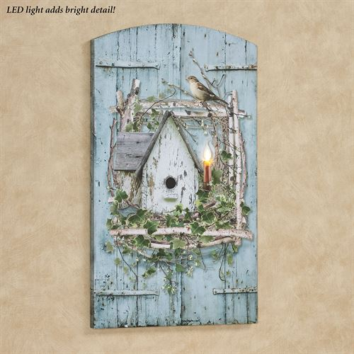 Vintage Birdhouse Lighted Canvas Wall Art Multi Cool