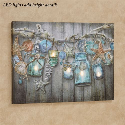 Seaside Collection Led Lighted Coastal Canvas Wall Art