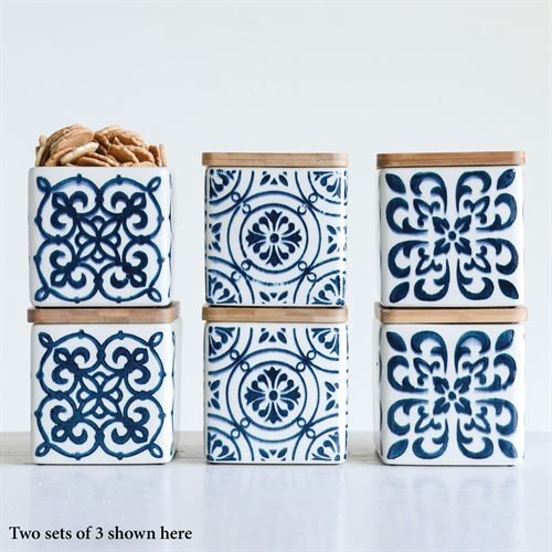 Cameronia Blue and White Stoneware Kitchen Canister Set of 3