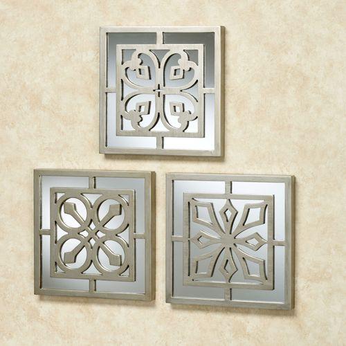 Ryan Mirrored Wall Art Platinum Set of Three