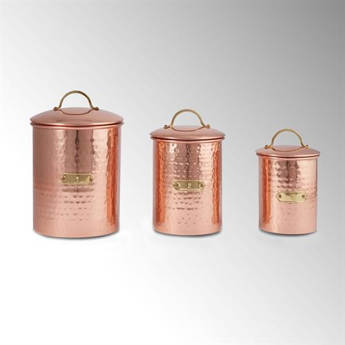 Copper Kitchen Canisters Set of Three