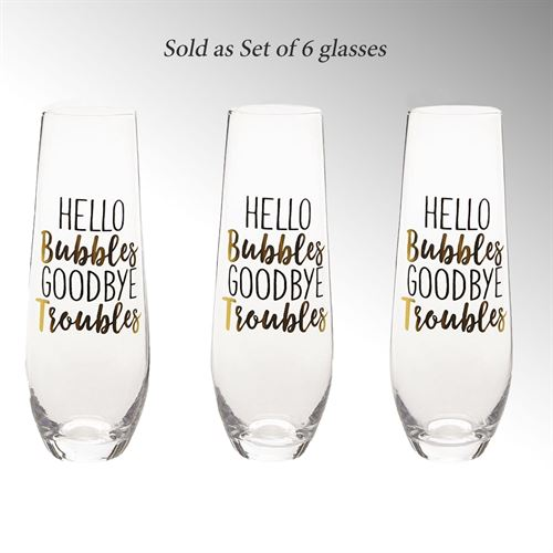 But First Mimosas Champagne Glasses Clear Set of Six