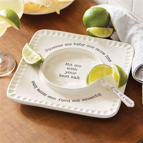 Circa Lime and Salt Rimmer Plate and Fork White 2 Piece Set