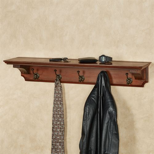 Wyndham Wall Shelf with Hooks Natural Cherry 36 Wide