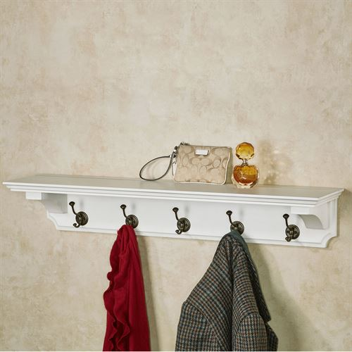 Wyndham Wall Shelf with Hooks Whitewash 36 Wide