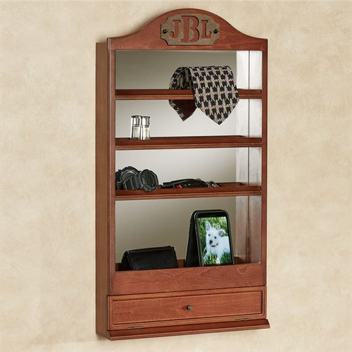 Quinn Mirrored Wall Shelf Classic Cherry