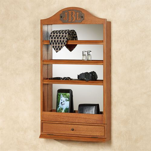 Quinn Mirrored Wall Shelf Windsor Oak