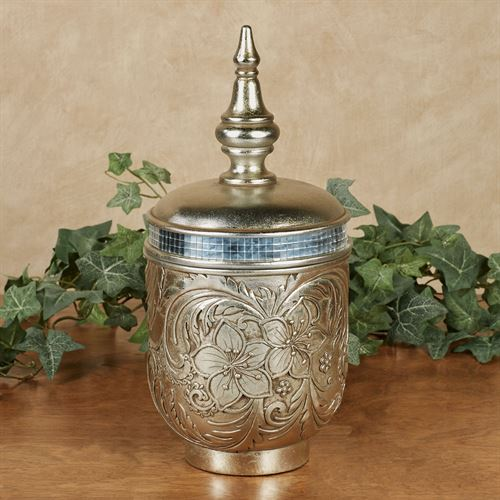 Silver Blossoms Decorative Covered Jar