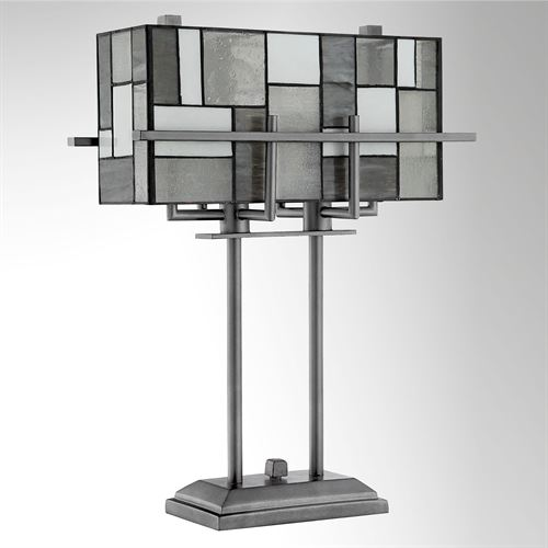 Colby Stained Glass Table Lamp Black/White
