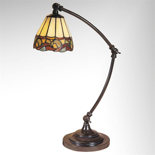 Ainsley Adjustable Stained Glass Desk Lamp By Dale Tiffany