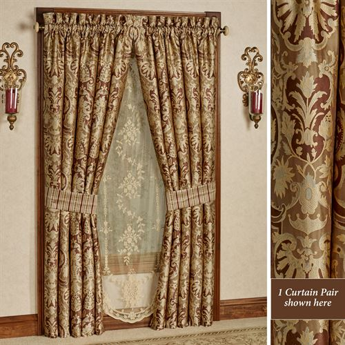 Botticelli II Wide Tailored Curtain Pair Brown 100 x 84
