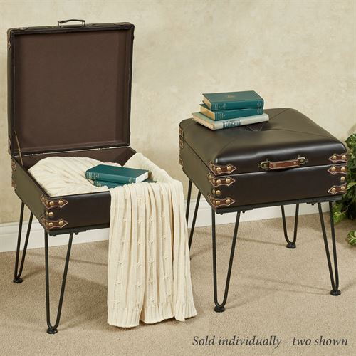 Travel Awaits Storage Accent Table Brown