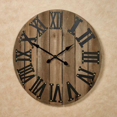 Wood Plank Wall Clock Black