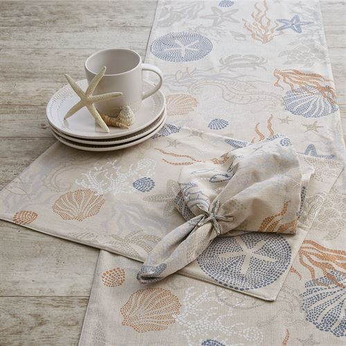Sea Life Table Runner Linen 15 x 72