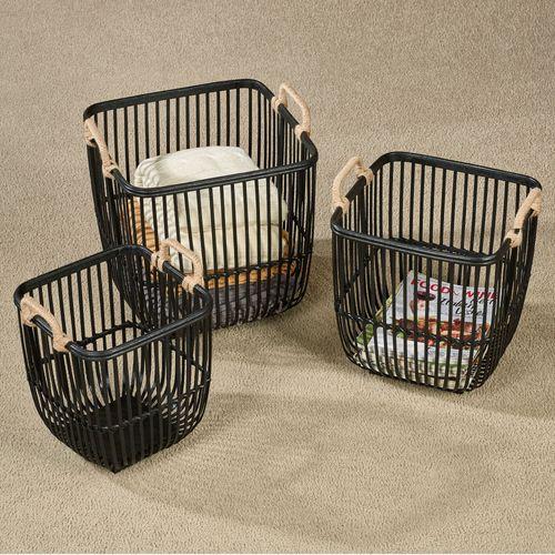 Kinsey Storage Baskets Black Set of Three