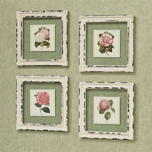 French Rose Framed Wall Art Antique Ivory Set of Four