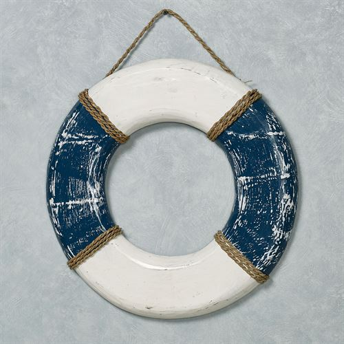 Life Buoy Preserver Wall Art Blue
