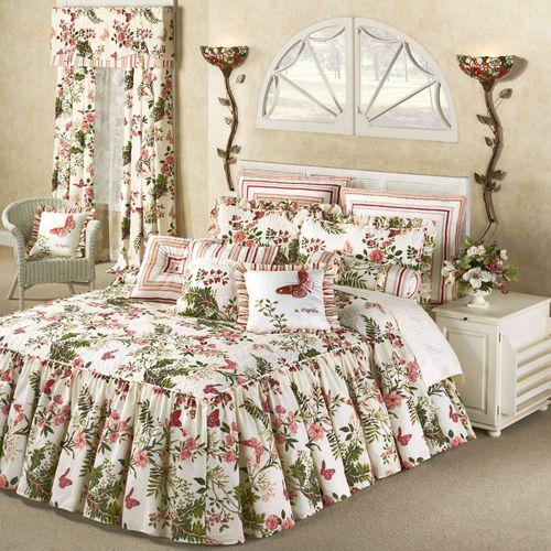 Butterfly Garden Grande Bedspread Ivory