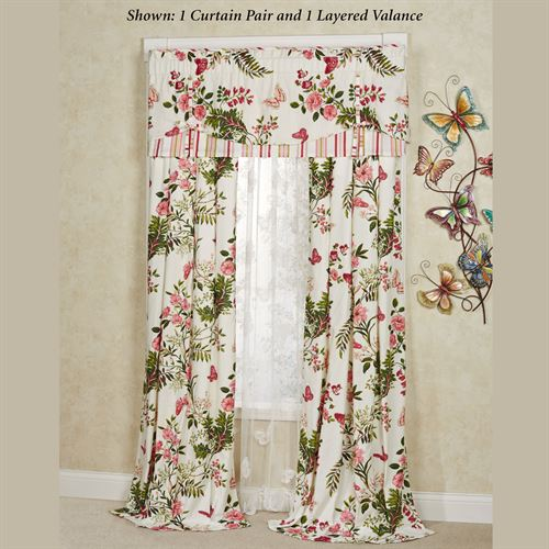 Butterfly Garden Tailored Curtain Pair Ivory 84 x 84