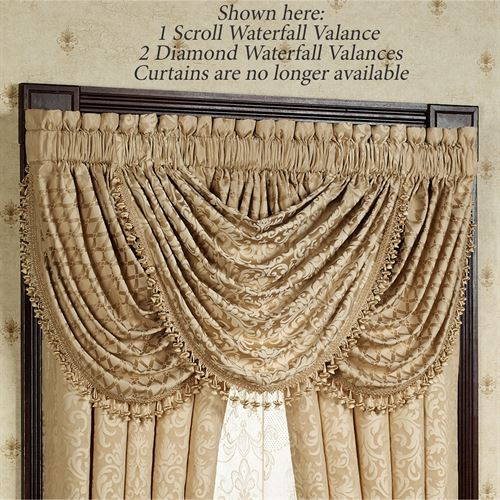 Newcastle Scroll Waterfall Valance Tan 48 x 30