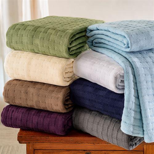 Basket Weave Lightweight Cotton Blanket