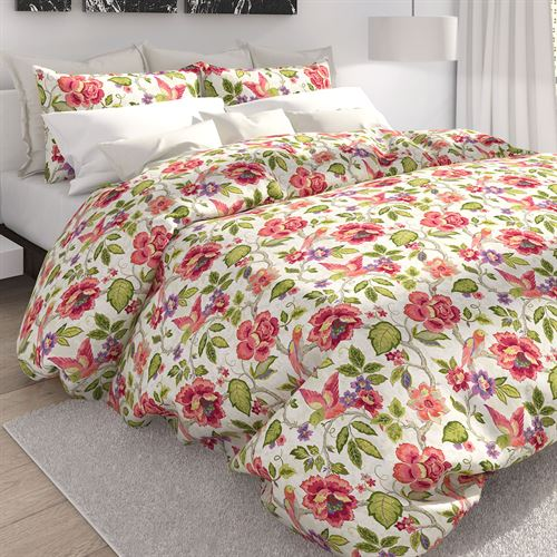 Tess Tropical Floral Duvet Cover Set Off White