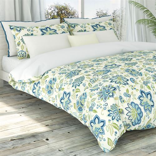 Bella Jacobean Floral Duvet Cover Set Medium Blue