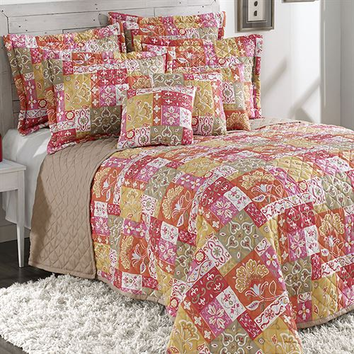 Kendall Quilted Bedspread Coral