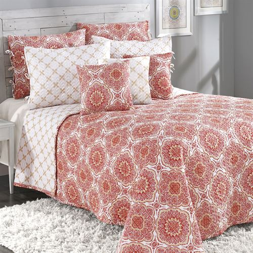 Trina Reversible Quilted Bedspread Cinnabar